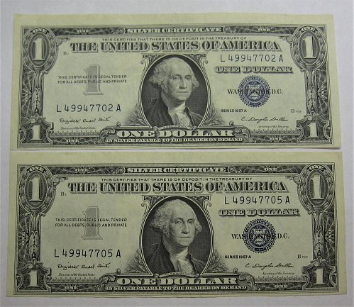 $1 Silver Certificates 1957A ---Both off center cuts