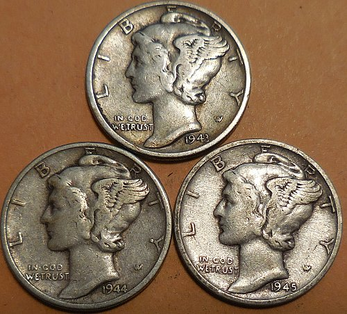 Three Mercury Dimes 1943-P 1944-P 1945-S