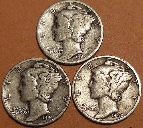 Three Mercury Dimes  1940-P 1941-P 1942-S
