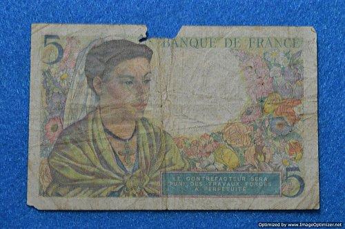 1943  BANQUE DE FRANCE 5 FRANCS