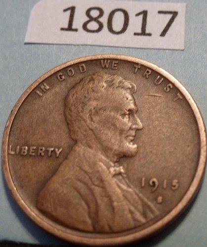 1915 S Very Fine Lincoln Wheat Cent VF