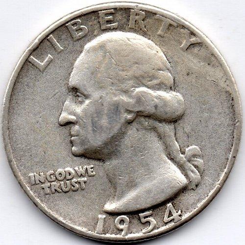 1954 P Washington 90% Silver Quarter Die Crack into Eagle's Wing Bullion