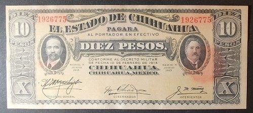 Mexico/Chihuahua S535a 10 Pesos UNC62