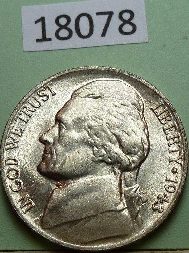 1943 P BU Silver Wartime Jefferson Nickel