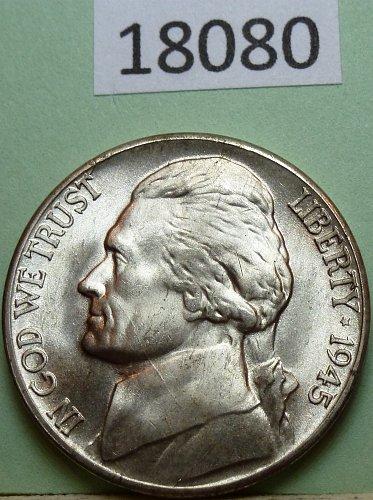 1945 D BU Silver Wartime Jefferson Nickel