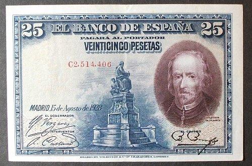 Spain P74b 25 Pesetas XF