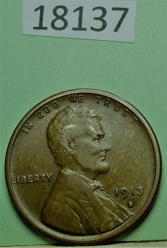 1913 S Fine Lincoln Wheat Cent About F