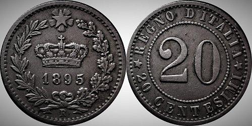 Italy 1895 R 20 Centesimi          0163