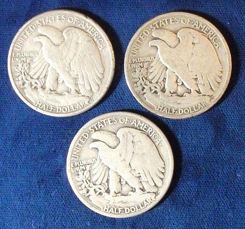 (3) Walking Liberty Halves 1934, 1946, 1947 Avg. Circulated