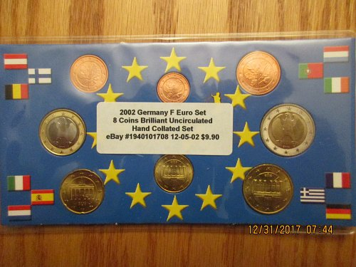 2002 Germany F MINT Euro 8 Coin Brilliant Uncirculated Set 1 cent to 2 euro