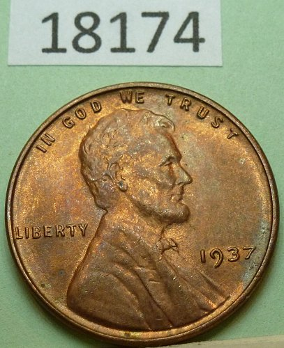 1937 P UNC Lincoln Wheat Cent in Uncirculated.