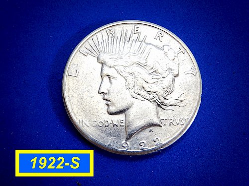 1922-S  PEACE Dollar — Circulated Condition –  (#5447)a