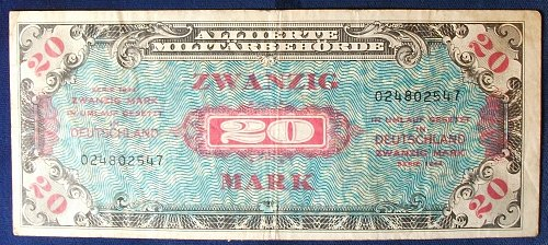 Germany P195a 20 Mark Fine Allied Military Currency