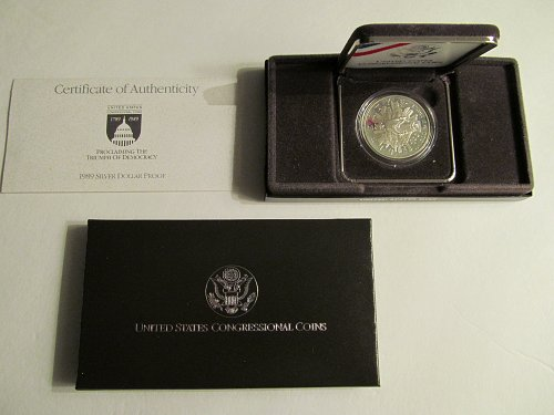 1989 Proclaiming the Triumph of Democracy Silver Dollar