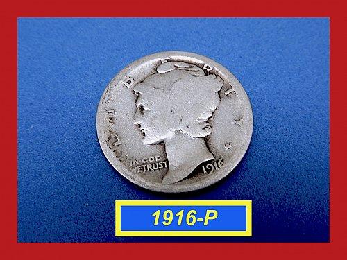 1916-P  Mercury Dime ☆   ☆ (#3666)a
