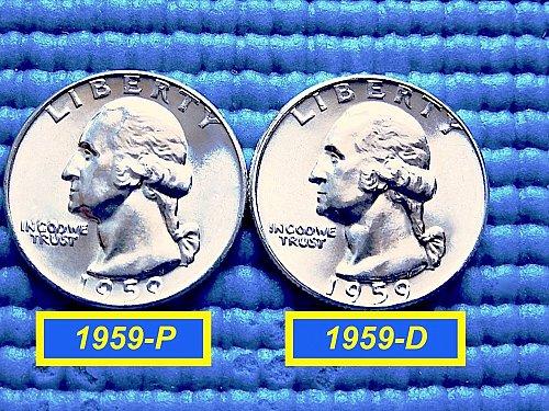 """1959 Year-Set ☆ PHILLY & DENVER Quarters ☆ """"BU"""" ☆(##2781a)a"""