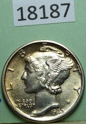 1942 D BU Mercury Dime FSB Brilliant Uncirculated