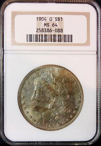 1904 O Morgan Silver Dollar NGC MS64 Toned