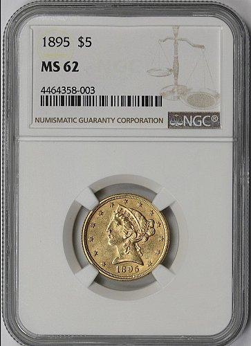 1895 $5 GOLD LIBERTY HEAD HALF EAGLE NGC MS 62