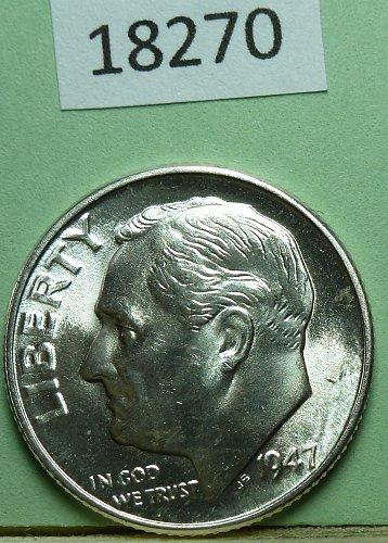 GEM BU MS Quality 1947-D Roosevelt Silver Dime. High Quality