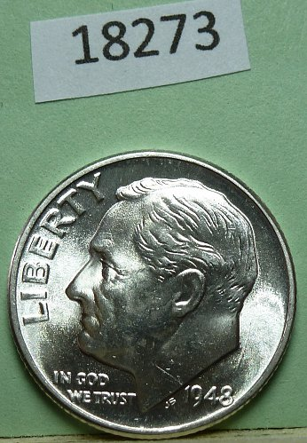 GEM BU MS Quality 1948-D Roosevelt Silver Dime. High Quality with full Bands