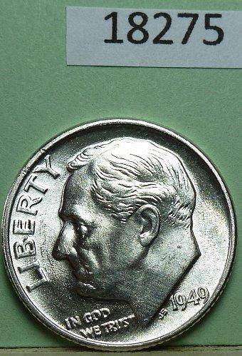GEM BU MS Quality 1949-P Roosevelt Silver Dime. High Quality