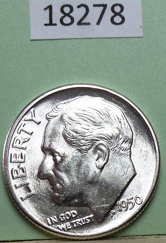 GEM BU MS Quality 1950-P Roosevelt Silver Dime. High Quality