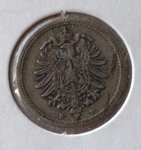 German: 1875-D 5 Pfenning