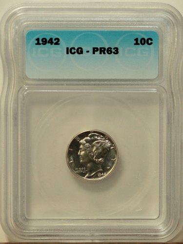 1942 Mercury Proof Dime, ICG - PR63