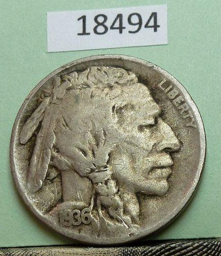 1936 D Very Good Buffalo Nickel VG 18494