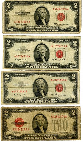 Four Two Dollar Notes