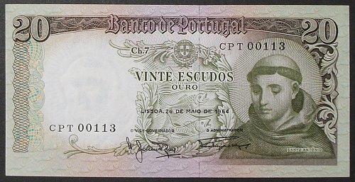 Portugal P167b 20 Escudos UNC64