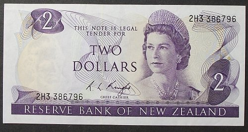New Zealand P164c 2 Dollars XF
