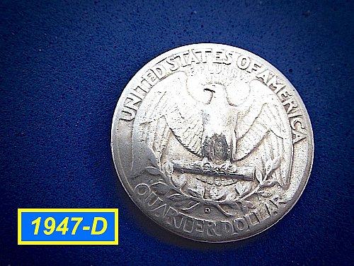 "1947-D   Washington Quarter ✬ ""Circulated""   ✬★  (#2963)a"
