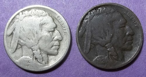 2 Buffalo Nickels LOT BNvw