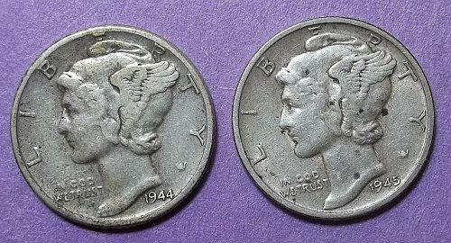 2 Mercury Dimes LOT McDwa