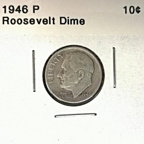 1946 P Roosevelt Dime - 6 Photos!