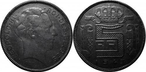 Belgium 1943 5 Franc 0167