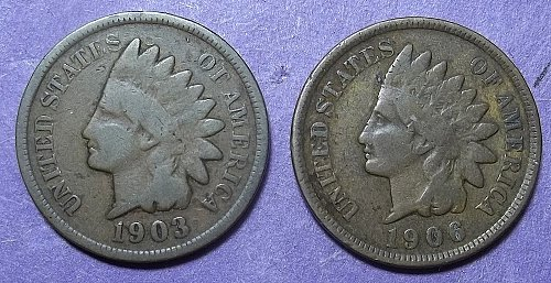 1903 and 1906 Indian Head Pennies Lot JUIHdKw