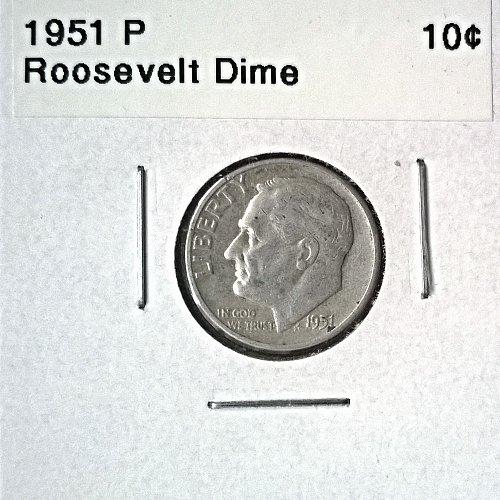 1951 P Roosevelt Dime - 6 Photos!