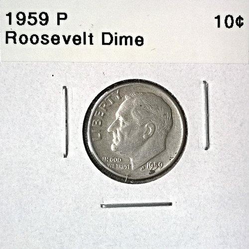 1959 P Roosevelt Dime - 6 Photos!