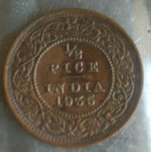 India..1933..1/2 pice circulated coin