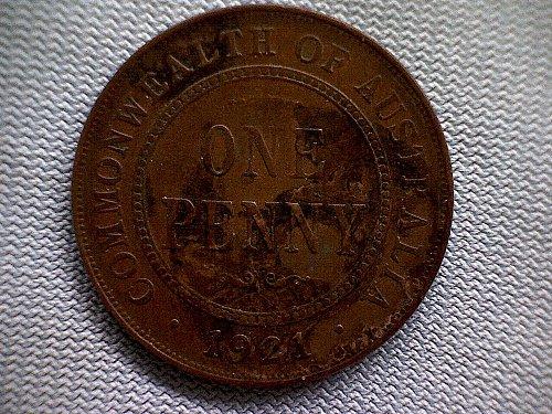 1921m&sy AUSTRALIA ONE PENNY BRONZE