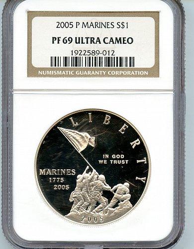 2005 US Marines PF69 Ultra Cameo Coin