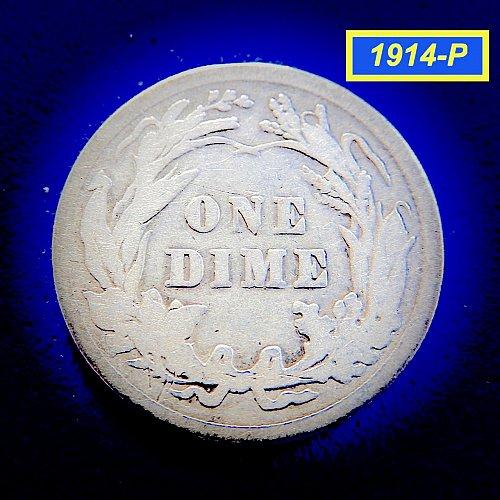 """1914-P Barber Dime ☆ """"Circulated ☆  (#3959)b"""