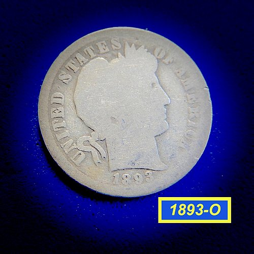 "1893-O Barber Dime ☆ ""Circulated ☆  (#3961)b"