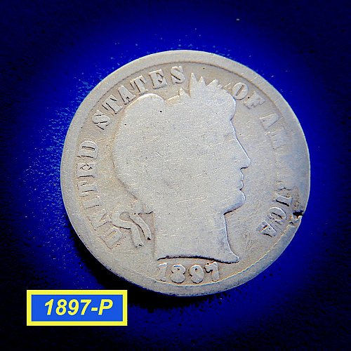 "1897-P Barber Dime ☆ ""Circulated ☆  (#3955)b"