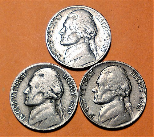 1940 - P-D-S JEFFERSON NICKELS
