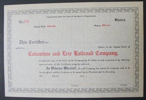 1900's Columbus and Erie Railroad Company Stock Certificate, Unused, Pennsylvani