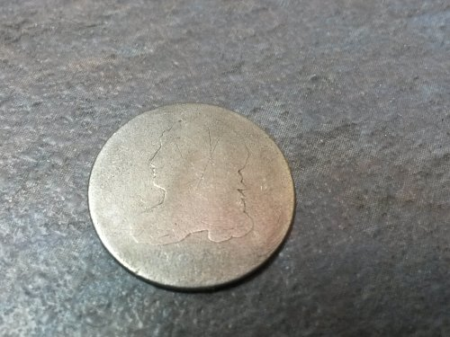 Very Worn Capped Bust Dime Likely 1809 as third digit is 0 which can only be 180